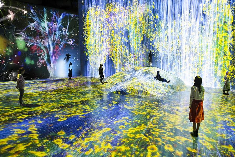 Montaje lumínico interactivo teamLab Borderles en el Mori Museum Digital Art