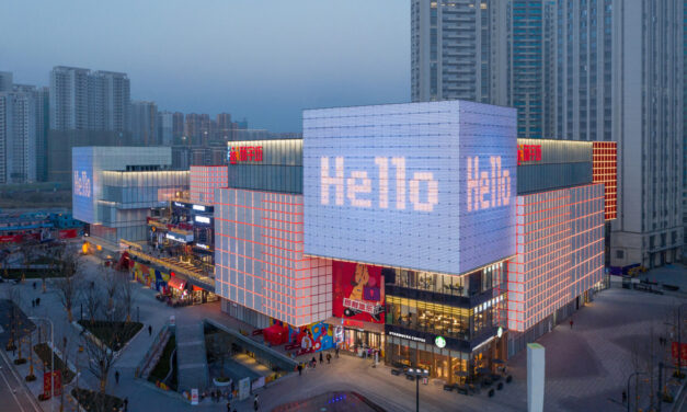 La fachada multimedia de Unifun Tianfu en Chengdu Shi, China, de Clou Architects