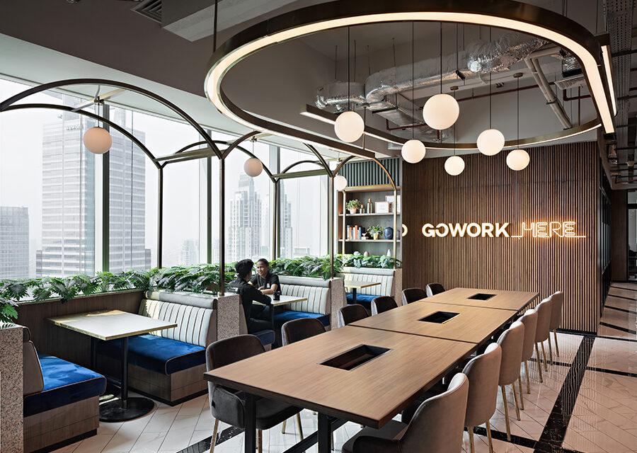 Diseño de oficinas de coworking GoWork Yakarta, de Metaphor